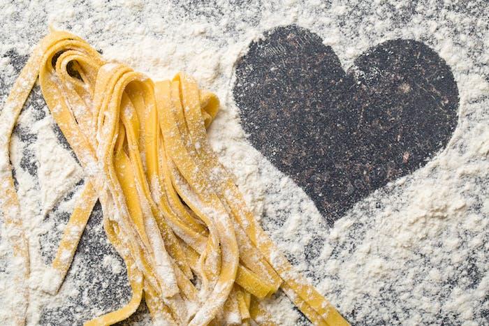 homemade pasta and heart