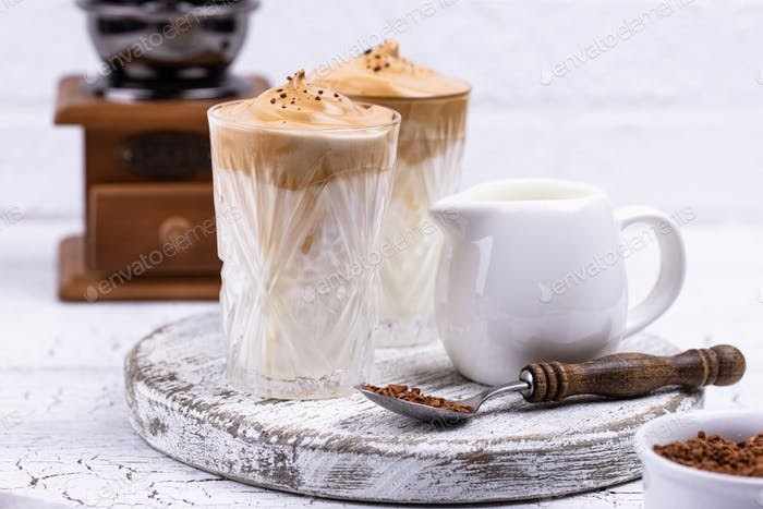 Dalgona whipped coffee with milk