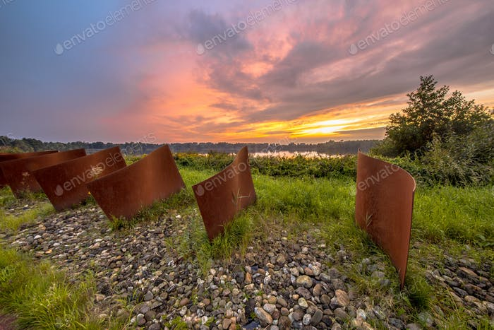 Metal objects in natural landscape