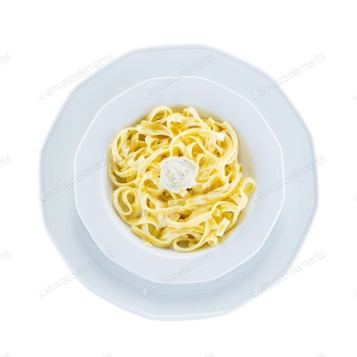 Tagliatelle pasta with cheese over white, with path