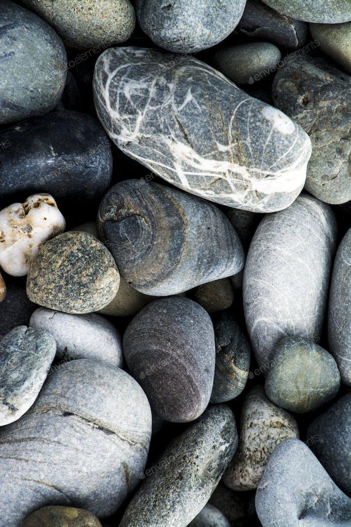 pebbles on a rock beach