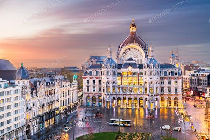Antwerp, Belgium cityscape at Centraal Railway Station