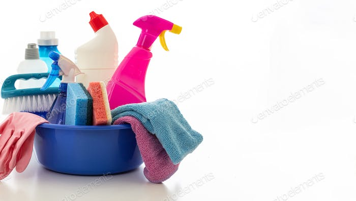 Cleaning supplies isolated against white background, copy space.