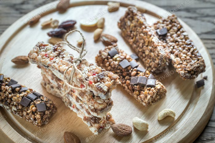 Granola bars with dried berries and chocolate