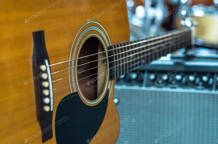 Closeup Guitar on music band background, musical concept