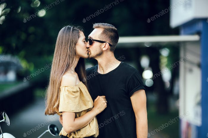 Cute couple kissing