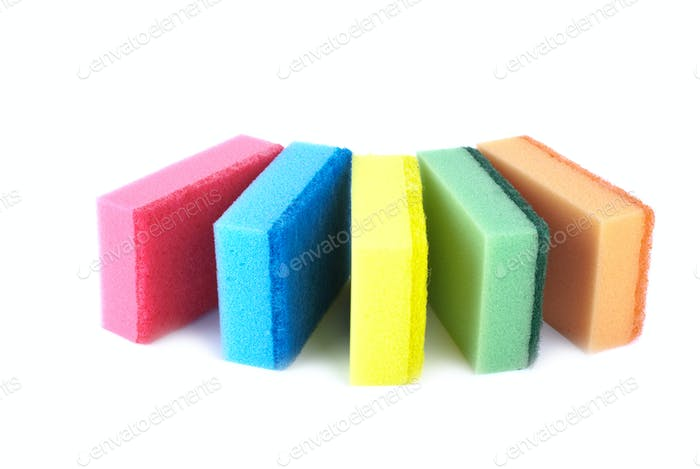 Five sponges of different colors