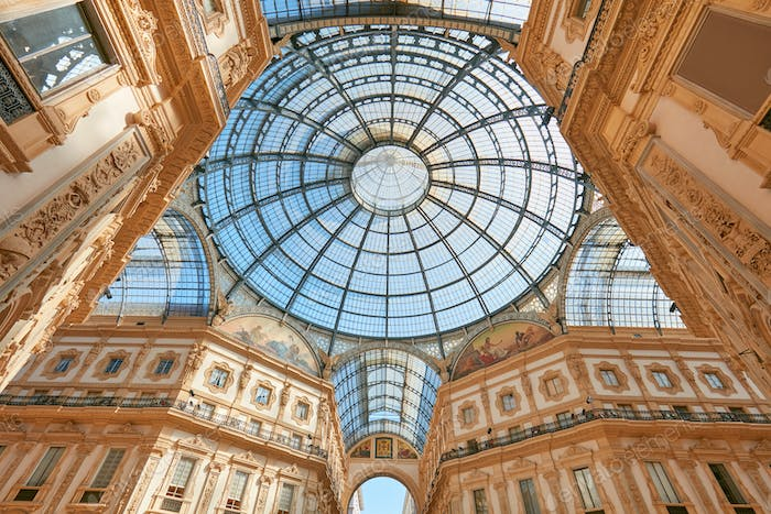 Milan, Vittorio Emanuele gallery interior, low angle view in Italy