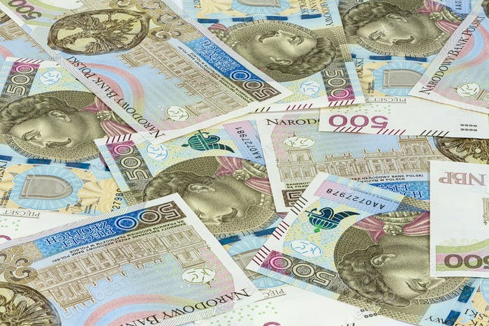 Background made of 500 pln banknotes