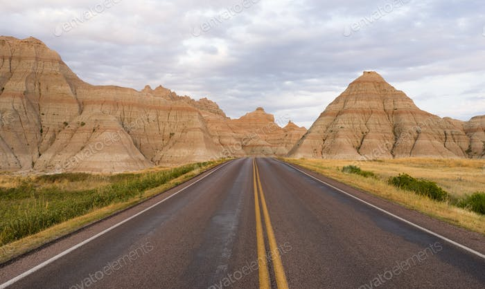 Highway into Rock Formations Badlands National Park South Dakota