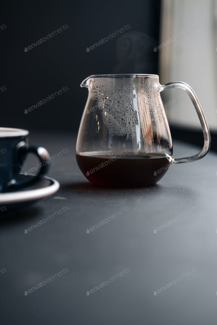 Alternative pour over specialty coffee on gray
