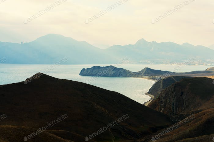 Seascape view from the mountain to the Black Sea
