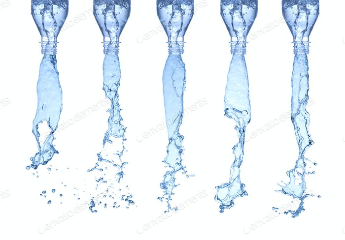 water splashes from a bottles