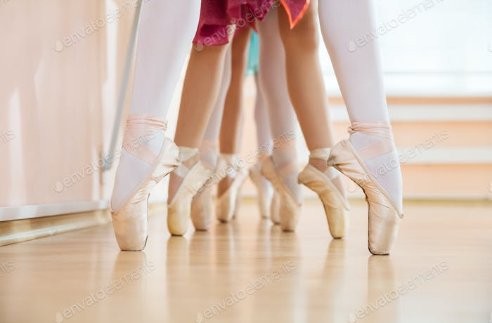 """Legs of young ballerinas standing on pointe in row"