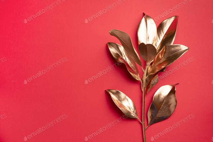 Floral minimal style concept. Exotic summer trend. Golden tropical leaves and branch on red color