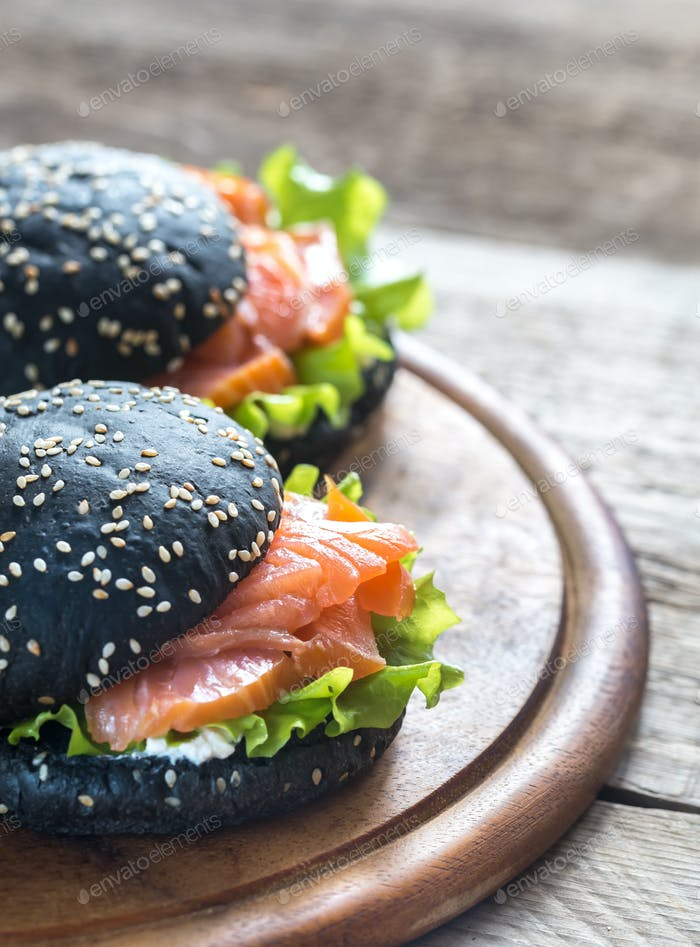 Black sandwich with salmon