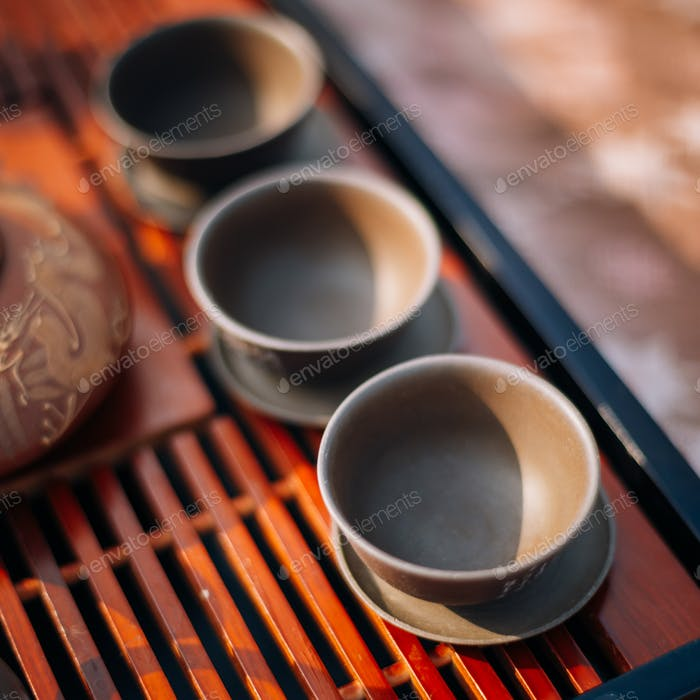 Close-up Table For Traditional Tea Ceremony Utensils, Chinese Te