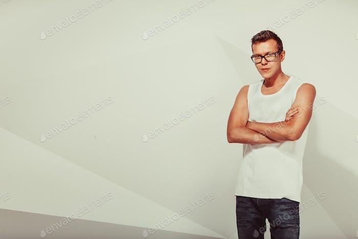 Portrait of serious cute man