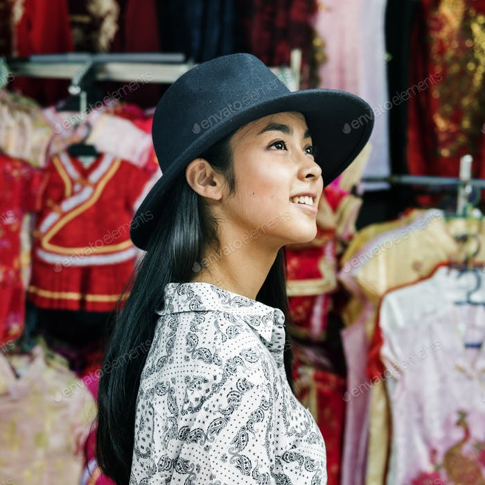Asiatische Ethnizität Casual Genuss Porträt Joy Konzept