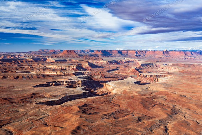 Aerial view of Green River Overlook, Canyonlands National Park, Moab, Utah, USA