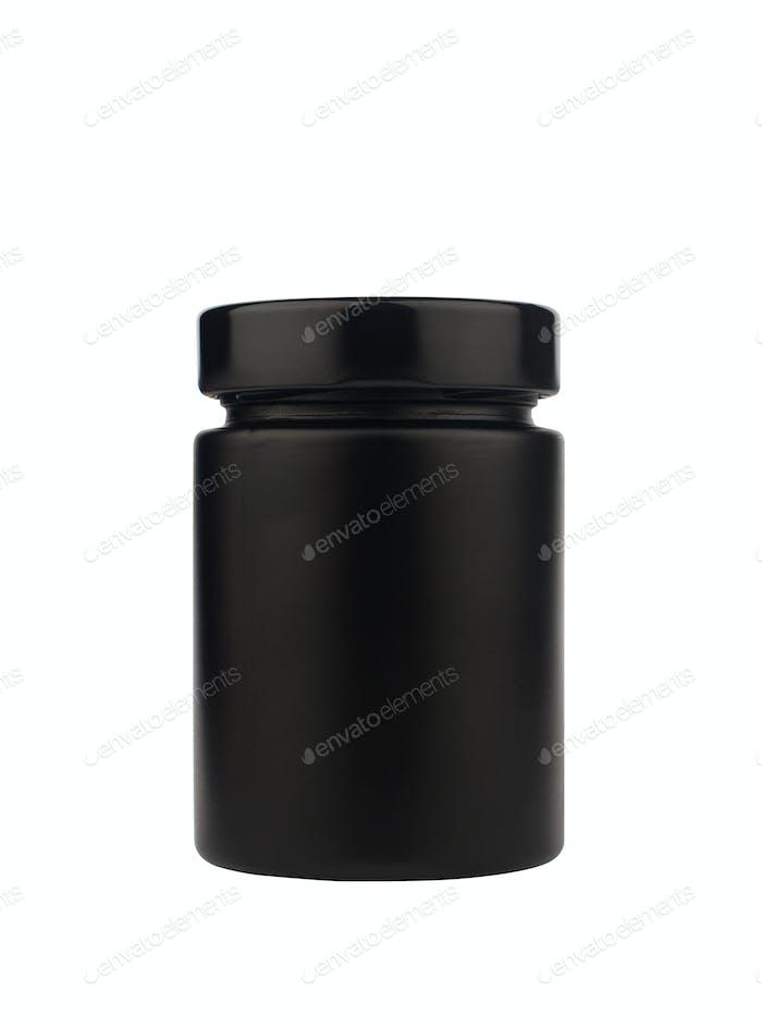 dark black jar with cap isolated on white