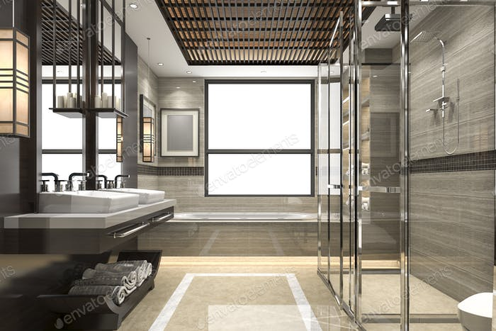 3d rendering modern loft bathroom with luxury tile decor with nice view from window
