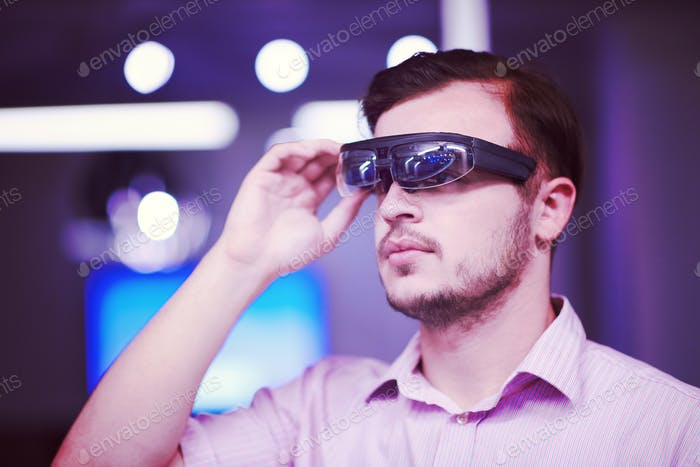 man using virtual reality gadget computer glasses