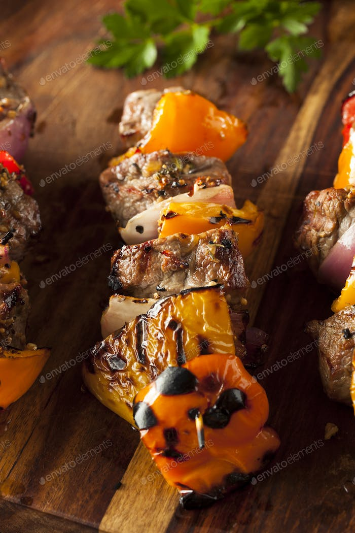Homemade Grilled Steak and Veggie Shish Kebabs
