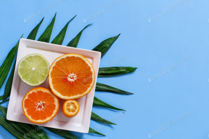 Citrus fruits on a blue background