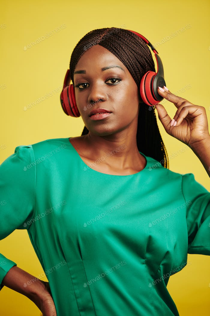Stylish Woman In Headphones