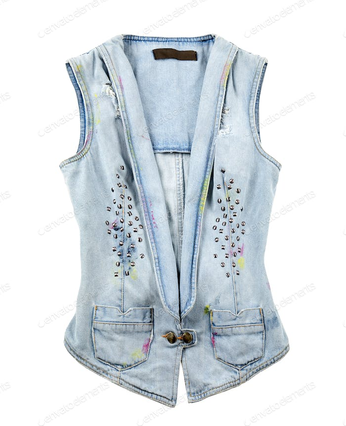Worn denim vest
