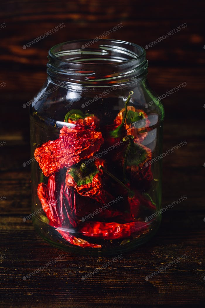 Jar of Dried Red Chilies