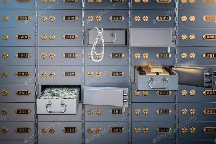 Open safe deposit box with money, jewels and golden ingots. Fina