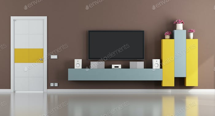 Colorful living room with television set