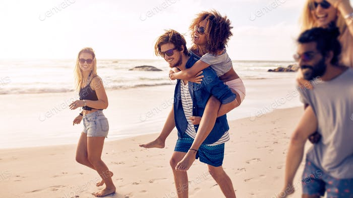 Group of friends enjoying a day at the beach