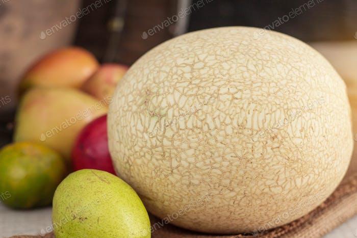 Melon on wooden floor