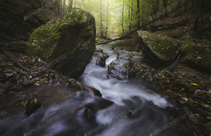 Mountain river with rapids in autumn