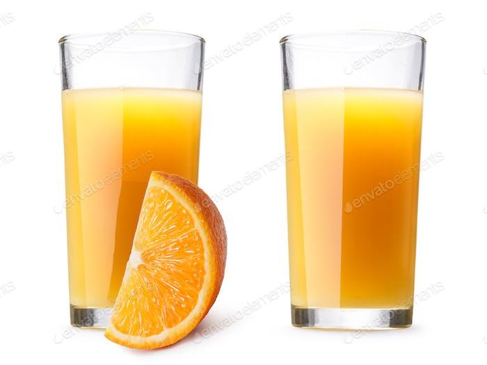 Glasses with fresh orange juice