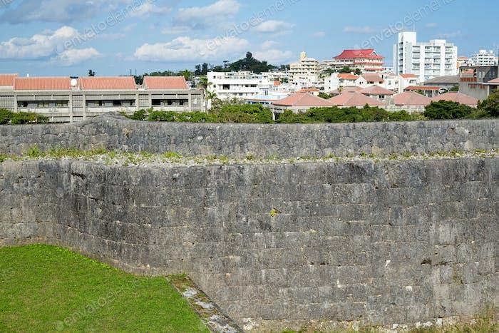 Castle wall in japan