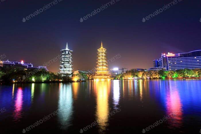 twin pagodas in guilin at night