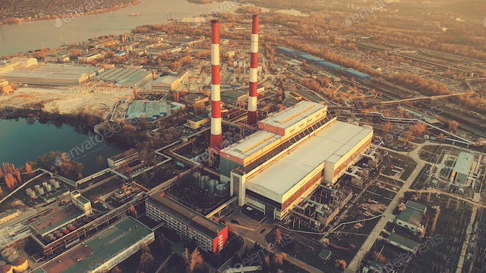 Aerial Drone Flight Photo of city main Power plant with two factory chimneys