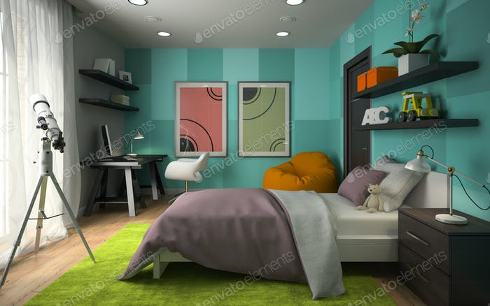 Interior of modern childroom  with blue wall 3D rendering 4
