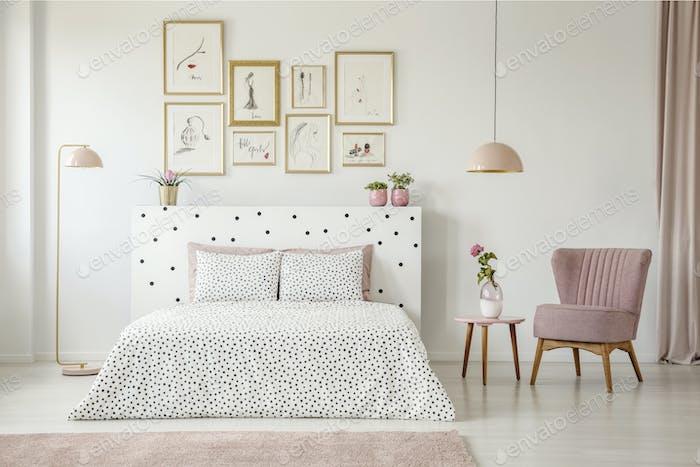 Pink woman's bedroom interior