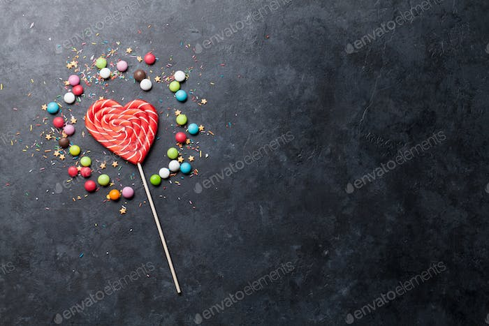 Colorful sweets. Lollipop and candies