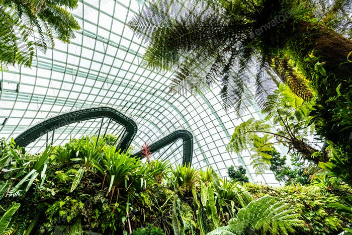 Beautiful architecture building flower dome garden and greenhous