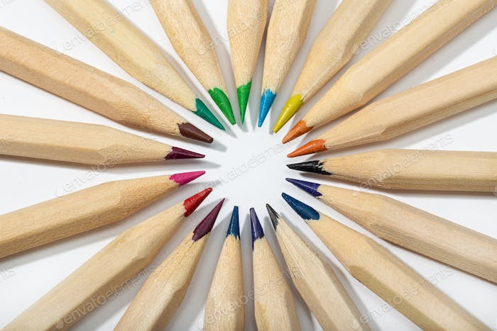 Colored pencils arranged in a circle
