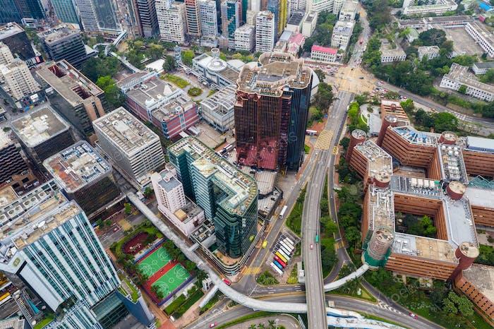 Hung Hom, Hong Kong 21 April 2019: Top view of Hong Kong urban city