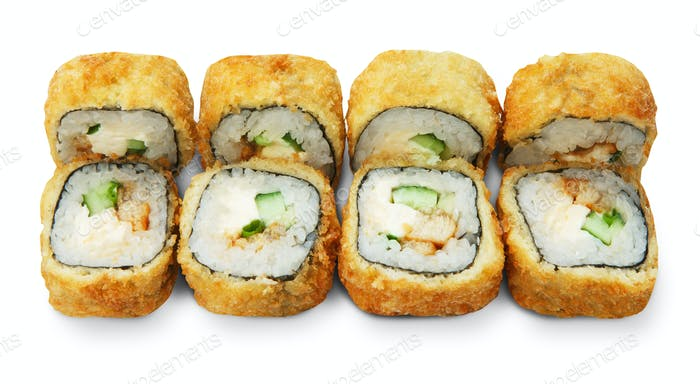 Set of tempura sushi rolls isolated at white