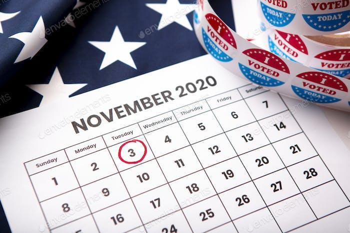 November 2020 presidential election date on calendar concept