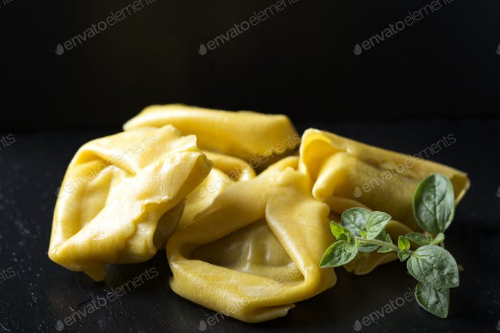 uncooked ravioli stuffed with meat